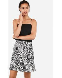 Express Leopard Print Mid-thigh Skirt Brown