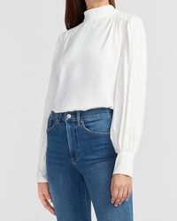 Express Mock Neck Balloon Sleeve Top Ivory - White