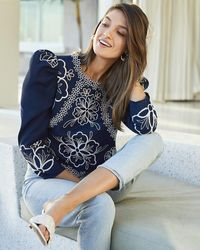 Express Embroidered Puff Sleeve Top Blue Xl
