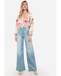 Express Floral Square Neck Cut-out Back Blouson Sleeve Top Pink Print