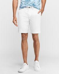 "Express 9"" 365 Comfort Hyper Stretch Shorts Neutral 34 - White"
