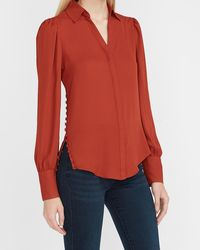 Express Hi-lo Button Side Puff Sleeve Portofino Shirt Orange Xxs