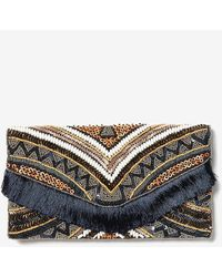 Express Beaded Fringe Flap Clutch Blue