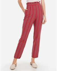 Express High Waisted Striped Ruffle Paperbag Ankle Pant Red 00 Short, By