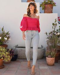 Express Off The Shoulder Puff Sleeve Wrap Front Top Passion Spice - Pink