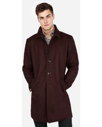 Express Burgundy Recycled Wool Topcoat Purple