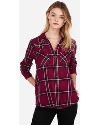 Express Embellished Rhinestone Boyfriend Flannel Shirt Red