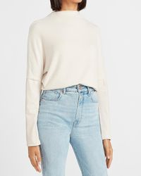 Express Mock Neck Faux Leather Sleeve Top Neutral Xxs - Blue