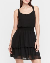 Express - Tiered Ruffle Fit And Flare Dress Black Xl - Lyst