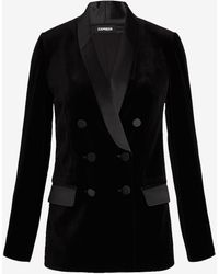 Express Velvet Double Breasted Cropped Business Blazer Pitch Black