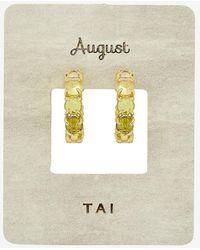Express Tai Birthstone Huggie Hoop Earrings Green