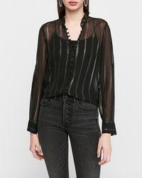 Express Slim Sheer Metallic Stripe Chiffon Portofino Shirt Black Stripe