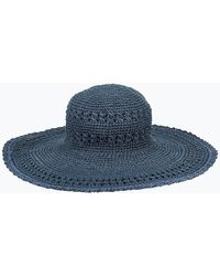 Express San Diego Hat Company Oversized Crochet Large Brim Hat Navy - Blue