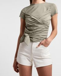 Express Body Contour Double Layer Ruched Tie Front Tee Green Xxs