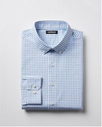 Express - Extra Slim Check Stay Collar Cotton Dress Shirt - Lyst