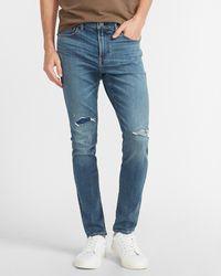 Express Skinny Medium Wash Temp Control Hyper Stretch Jeans - Blue