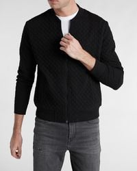 Express Black Quilted Long Sleeve Bomber Sweatshirt Black M Tall