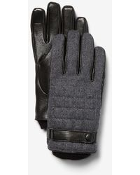 Express Genuine Leather Wool-blend Touchscreen Compatible Gloves Grey S/m