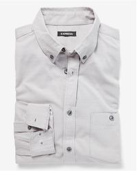 Express Slim Textured Cotton Dress Shirt Grey L