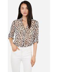 Express Slim Fit Leopard Ruffle Chiffon Portofino Shirt Black Print