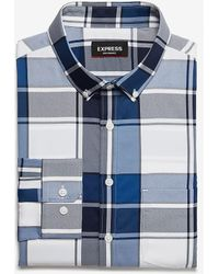 Express Extra Slim Plaid Wrinkle-resistant Performance Dress Shirt Blue Xs