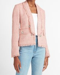 Express Button Front Boucle Cropped Business Blazer Pink Xs