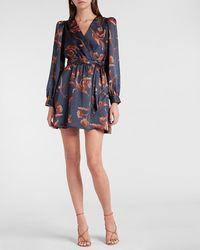 Express Floral Satin Tie Waist Long Sleeve Mini Dress Blue Print