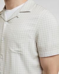 Express - Slim Geo Print Rayon Short Sleeve Shirt Neutral L Tall - Lyst