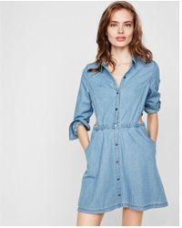 Express - Denim Side Cut-out Shirt Dress - Lyst