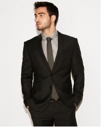 Express - Slim Charcoal Check Wool Suit Jacket - Lyst