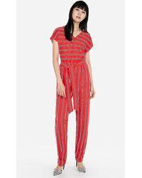 Express Stripe V-neck Short Sleeve Jumpsuit Red Stripe