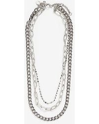 Express Three Row Multi-layered Chain Necklace Silver - Metallic