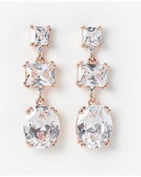 Express Triple Stone Linear Drop Earrings - Metallic