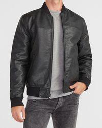 Express Black Faux Leather Reversible Bomber Jacket