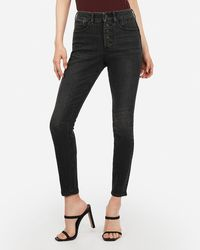 Express High Waisted Denim Perfect Curves Lift Black Button Fly Ankle Skinny Jeans, Size:18 Short