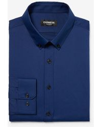 Express Classic Solid Button-down Wrinkle-resistant Performance Dress Shirt - Blue