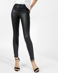 Express Five Pocket Faux Leather Leggings Pitch Black