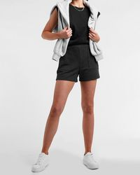 Express High Waisted Soft Knit Patch Pocket Pull-on Shorts Grey Xs