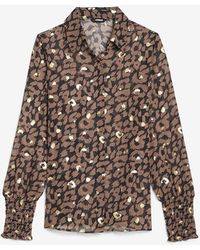 Express Metallic Leopard Smocked Cuff Portofino Shirt Leopard - Brown