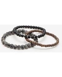 Express Set Of 3 Marble & Wood Stretch Bracelets Black