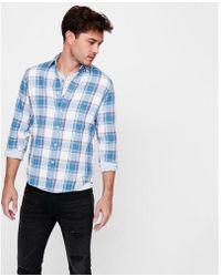Express - Slim Soft Wash Plaid Double Weave Button-down Shirt - Lyst