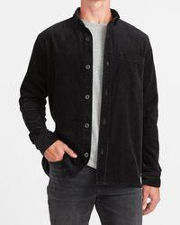Express Slim Solid Corduroy Shirt Jacket - Black