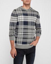 Express Tartan Hooded Sweater Grey M
