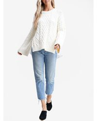 Express En Saison Cable Knit Bell Sleeve Contrast Back Jumper White S