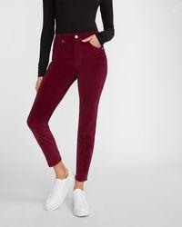 Express High Waisted Velvet Skinny Pant Plum - Red