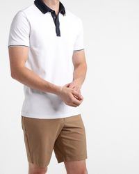 Express Contrast Collar Moisture-wicking Performance Polo - White