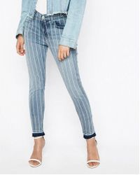 Express - Mid Rise Striped Stretch Ankle Jean Leggings, Women's Size:18 Short - Lyst