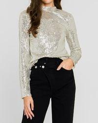 Express Endless Rose Sequin Long Sleeve Top Silver M - Metallic