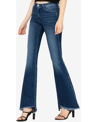 Express Flying Monkey Mid Rise Bell Bottom Flare Jeans - Blue