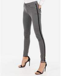 Express - Mid Rise Gray Side Stripe Jeggings, - Lyst